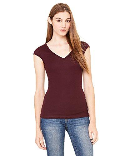 Bella + Canvas Ladies Sheer Mini Rib Cap-Sleeve Deep V-Neck T-Shirt - PLUM - 2XL - (Style # B8705 - Original Label)