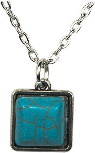 Unisex Pendant, Turquoise Square Pendant +FREE CHAIN + FREE GIFT BAG
