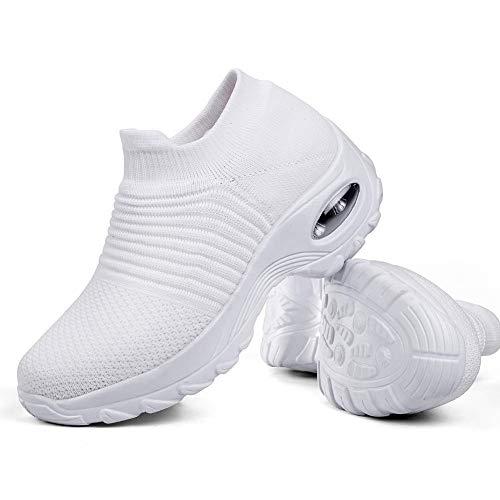 Women's Walking Shoes Sock Sneakers - Mesh Slip On Air Cushion Lady Girls Modern Jazz Dance Easy Shoes Platform Loafers White,6.5