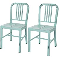 Glitzhome Vintage Metal Side Chairs Light Blue, Set Of Two