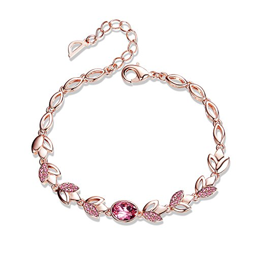 Bracelet,Rose Gold Crystal Bracelets CDE Women's Bracelets Jewelry Made with Swarovski Crystals Platinum Plated Jewelry Anniversary Gifts for Women Girlfriend (Designer Rose Gold Bracelet)
