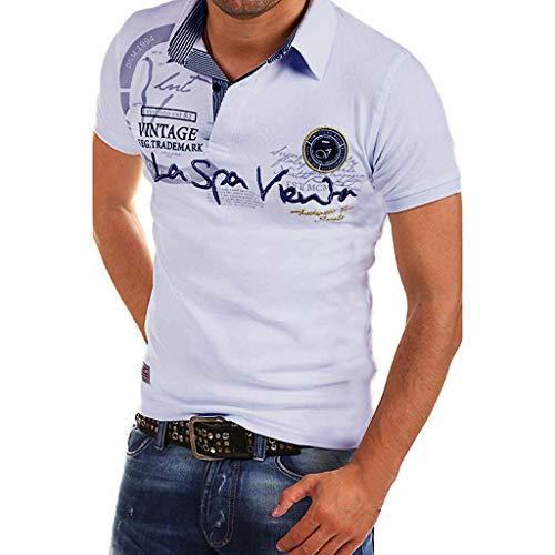 YKARITIANNA Fashion Mens Letter Button Personality Shirt Short Sleeve T-Shirt Blouse Tops