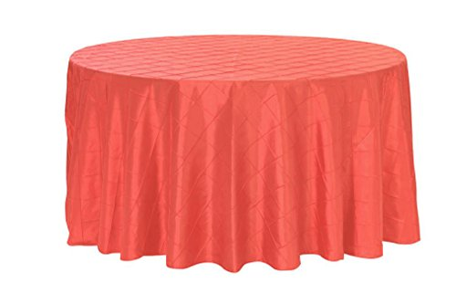 Your Chair Covers - 120 inch Round Pintuck Taffeta Tablecloths Coral, Round Table Linens for 5 ft Round Tables ()