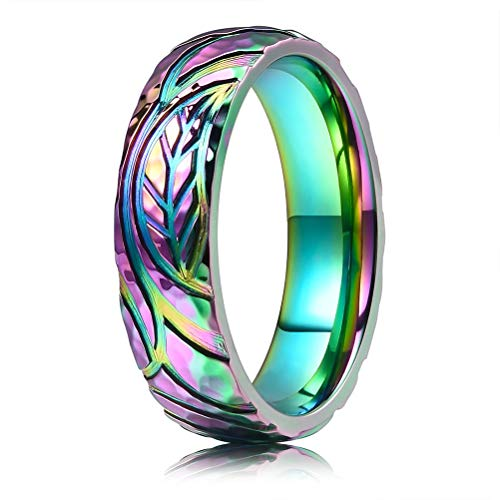 THREE KEYS JEWELRY 6mm Rainbow Leaf Colorful Titanium Wedding Ring Domed Polished Wedding Band Engagement Ring Size 5.5