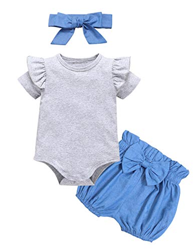 Newborn Baby Girls Clothes Ruffle T-Shirt + Floral Pants + Headband + Hat Outfit Sets (Blue, 0-3 Months)