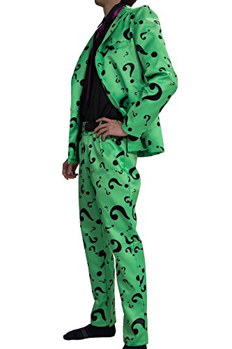 Riddler Costume Suit Shirt Tie Question Mark Green Cosplay Halloween Outfit Xcoser 2XL]()