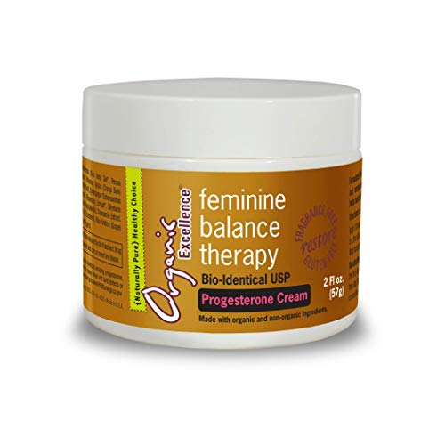 - Organic Excellence Feminine Balance Therapy USP Bioidentical Progesterone Cream for Menopause Relief and Natural Hormone Balance for Women 2 oz