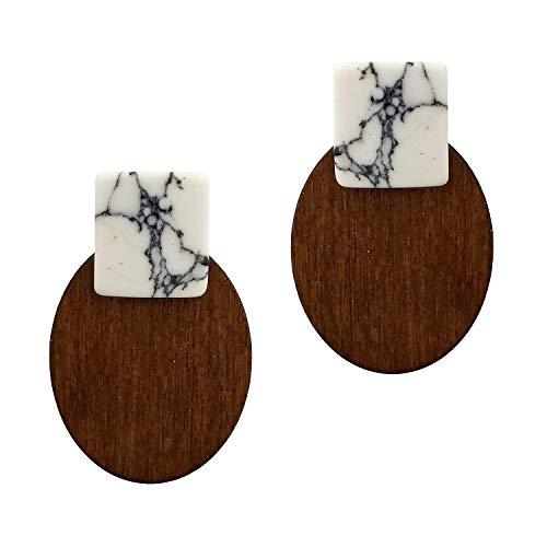 Seraphina New York Rectangular Stone Oval Shape Wood Earrings (Howlite)