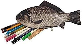 New Silver Carp Real Fish-like Zipper Pen /& Make-up Pouch Pencil Case Funny Rare