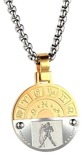 Xusamss Fashion White Gold Titanium Steel Twelve Constellations Round Tag Pendant Necklace,24 Chain