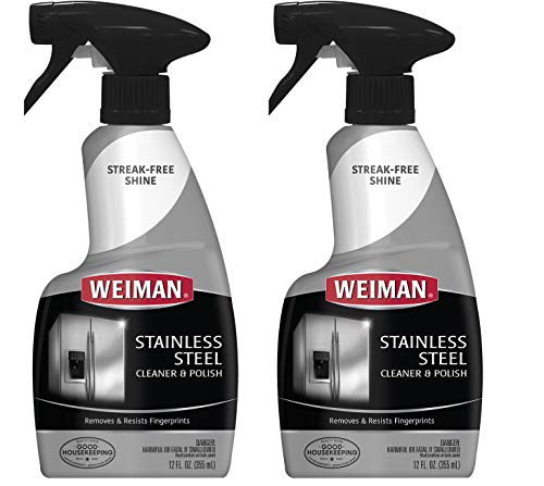 Weiman Stainless Steel Cleaner and Polish - 12 Ounce [2 Pack] - Removes Fingerprints, Residue, Water Marks and Grease From Appliances - Refrigerators Dishwashers Ovens Grills etc - 24 Ounce Total