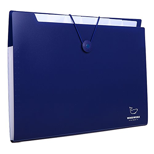 A4 File Folder, 8/12 Pockets Expanding File Folders, Accordion Document Organizer, Plastic Test Paper Clip, Office File Bag, Portable Simple Storage Bags, with Cord Closure (Navy, A4-8 pockets)