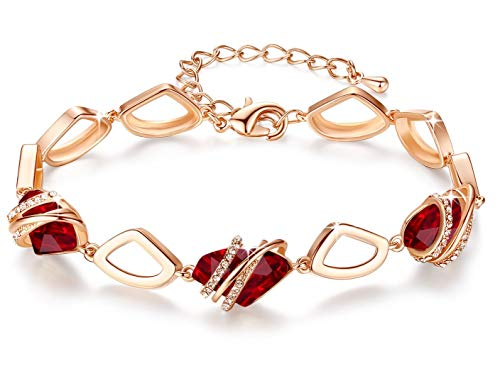 Leafael [Presented by Miss New York] Wish Stone Made with Swarovski Crystals Focal Shape 18K Rose Gold Plated Ruby Red Stone Bracelet, 7″+2″, Nickel/Lead/Allergy Free, Luxury Gift Box