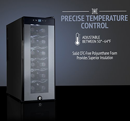 Ivation 12 Bottle Thermoelectric Red And White Wine Cooler Chiller Counter Top Wine Cellar with Digital Temperature Display Freestanding Refrigerator Smoked Glass Door Quiet Operation Fridge Black