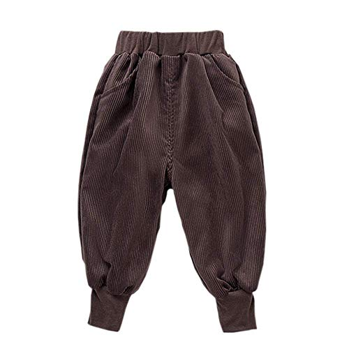 Unisex Kids Corduroy Pants Toddler Baby Boys Girls Loose Casual Fit Harem Pant Chocolate