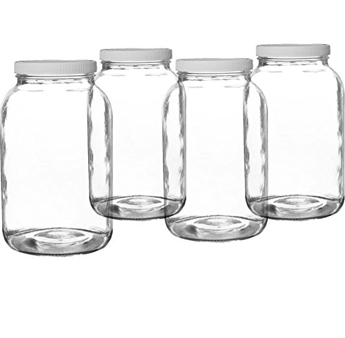 Pakkon Wide Mouth Glass Mason Jar with PlasticLid/Ferment & Store Kombucha Tea or Kefir/Use for Canning, Storing, Pickling & Preserving Dishwasher Safe, Airtight Liner Seal, 1 gallon (4 Pack)