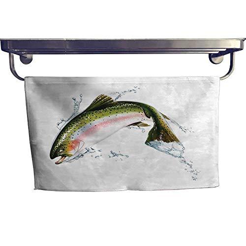 alisoso Fish Popular Sports Towel Set Salmon Jumping Out of Water Making Splashes Cartoon Design Photorealistic Airbrush Yoga Hand Towels Set W 10