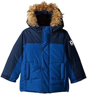 Ben Sherman Baby Boys' Bubble Jacket with Faux Fur Hood, Navy, 12M