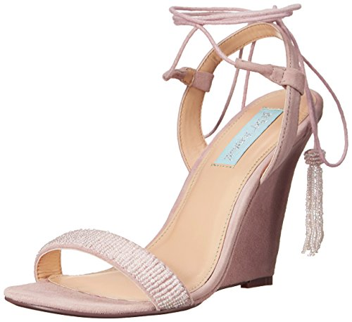 Blue by Betsey Johnson Women's SB-Faye, Blush Suede, 10 M US (Wedges Betsey Leather Johnson)