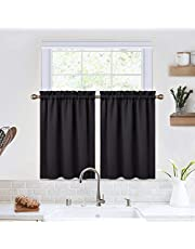 Blackout Kitchen Curtains 36 Inch Length Room Darkening Short Curtains for Small Window Cafe Bathroom Basement (Black, 26 x 36 Inches, Set of 2)