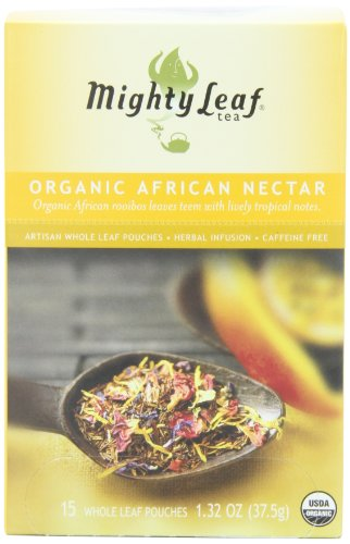Mighty Leaf Herbal Tea, Organic African Nectar, 15 Pouches (Pack of 3)