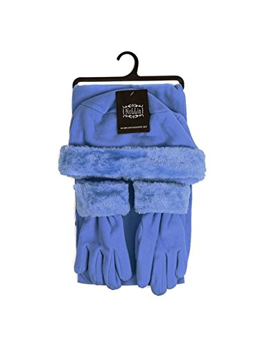 Women's French Blue Solid Polyester Fleece 3-Piece gloves scarf Hat Winter Set