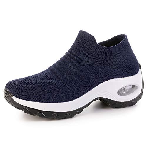 JOINFREE Slip-on Walking Shoes for Women Fashion Sneakers Non-Slip Wedge Platform Lofers Blue 11 M US