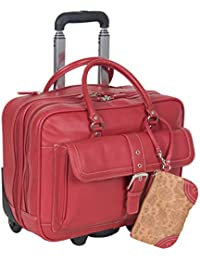 """'Lake View' Women's Pebbled SOHO Leather Multi-Compartment 15.6"""" Laptop & Tablet Wheeled Business Portfolio Tote / Overnighter Carry-On, Red"""