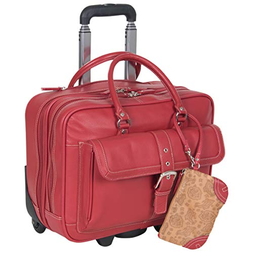Red Wheeled Computer Cases - Heritage Travelware 'Lake View' Women's Pebbled