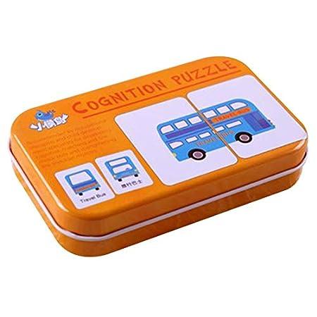 Celerhuak Tarjeta cognitiva universal para ni/ños con caja de transporte de hierro Tarjeta de aprendizaje para beb/és Herramienta de aprendizaje de ingl/és para ni/ños Herramientas educativas 56 letras