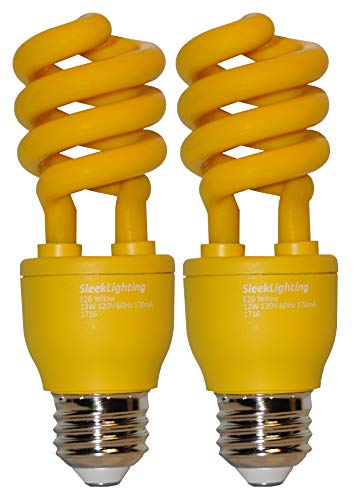 SleekLighting 13 Watt Yellow Bug Light Spiral CFL Light Bulb 120Volt, E26 Medium Base. (Pack of 2)