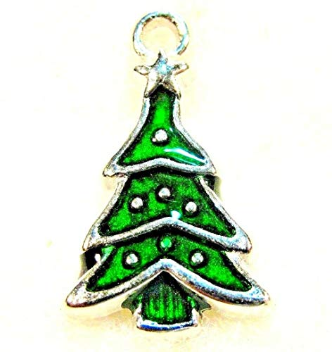 10Pcs. Tibetan Green Enamel Christmas Tree Charms Pendants Earring Drops CH24 Jewelry Making Supply Pendant Bracelet DIY Crafting by Wholesale Charms ()