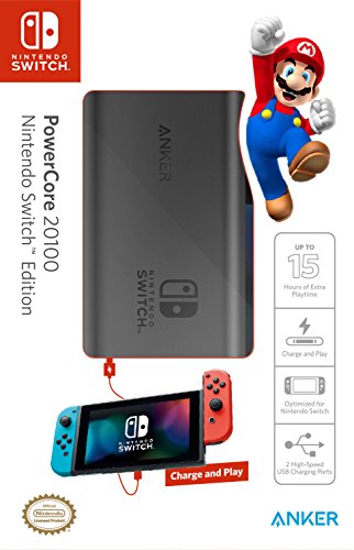 Nintendo Battery - [Power Delivery] Anker PowerCore 20100 Nintendo Switch Edition, The Official 20100mAh Portable Charger for Nintendo Switch, for use with iPhone X/8, MacBook Pro, and More