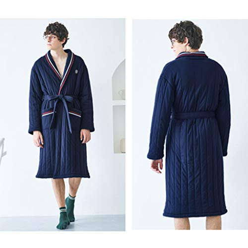 Camisa Size Manga Blue Con Larga Pijamas Blue M color De Invierno Cintura Gruesa Acolchada Algodón Bata ORAqwq