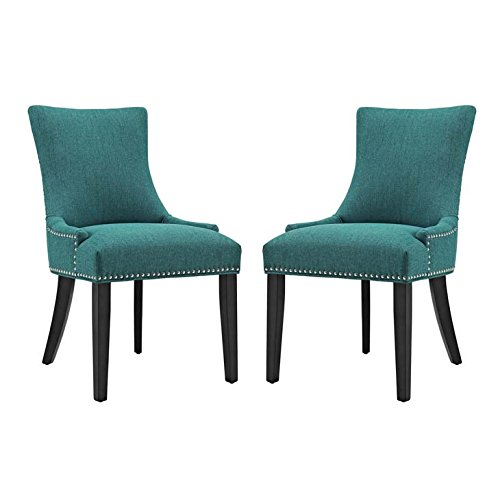 Modway Marquis Modern Elegant Upholstered Fabric Parsons Two Dining Side Chair Set With Nailhead Trim And Wood Legs In Teal by Modway