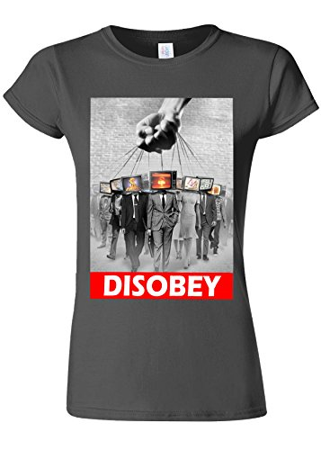 乱闘ガロン破壊Disobey TV Heads Slavery Novelty Charcoal Women T Shirt Top-S