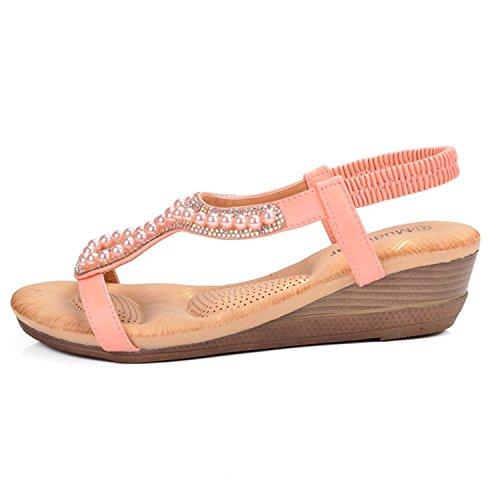 7625cd73d53b Shoes Size Plus Wedge Sandals Beading Hollow Ladies Bohemia Open Toe Soft  Pink Beach Sandals Women