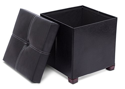 (BIRDROCK HOME Faux Leather Storage Ottoman with Legs | 16 x 16 | Foot Stool with Organizer | Upholstered Cushioned Seat | Black)