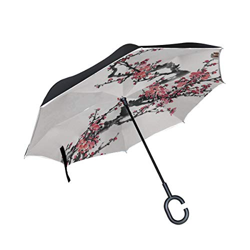Clear Umbrella Plum Blossom Flowers Folding Inverted Umbrella Waterproof Umbrella Outdoor Camping For Girls Adult With C-shaped Handle Stick Umbrellas