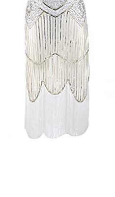 Shelly Women's 1920s Great Gastby Inspired Fringed Sequin Beaded Embellished Art Deco Flapper Dresses Plus Size