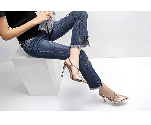 Pointed High Heels Elegant Sandals Sexy Ankle Shoes Leather Shoes (Color : Blue, Size : 34)