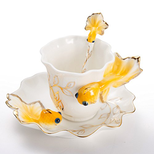 New Fashion Hand Crafted Porcelain Enamel Goldfish Coffee Cup Set with Saucer and Spoon - Gift Packaging