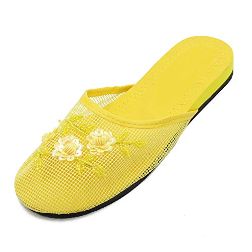 Cammie Women's Floral Beaded Mesh Yellow Chinese Slippers 6 B(M) US