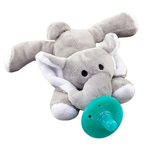 2-in-1 Elephant Stuffed Animal Pacifier for Babies, Cute and Cuddly Plush Toy with Silicone Teether, Supports Girls and Boys Ages 0-6 Months, Portable and Travel Friendly