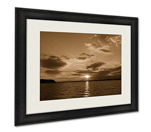 Ashley Framed Prints Sunset On Lake Norman Nc, Wall Art Home Decoration, Sepia, 30x35 (frame size), AG6004015 by Ashley Framed Prints
