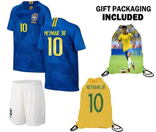 Neymar Jersey Brazil Away Short Sleeve Kids Soccer Jersey Brasil Neymar Jr Soccer Gift Set Youth Sizes ✓ Premium Quality ✓ Soccer Backpack Gift Packaging (Youth Small (6-8 Years Old))
