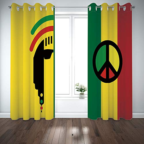- SCOCICI Grommet Polyester Window Curtains Drapes [ Rasta,Iconic Barret Reggae Jamaican Music Culture Peace Symbol Borders Decorative,Red Green Yellow] Living Room Bedroom Kitchen Cafe