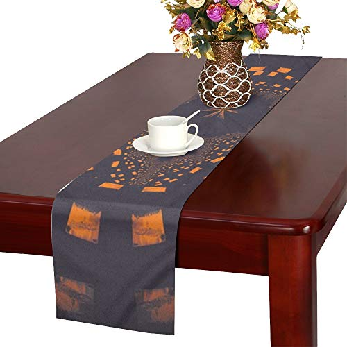 Abstract Fractal Pattern Metallic Colorful Table Runner, Kitchen Dining Table Runner 16 X 72 Inch For Dinner Parties, Events, -