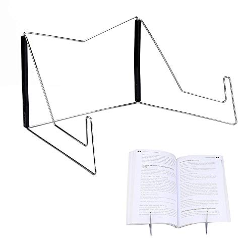- Book Stands,Fold-n-Stow Metal Bookstand,Music Book Easel Display Holder,Adjustable Reading Stand,Small Book Rest for Kitchen Counertops,Bookrest for Hardcover Textbook,Ipad,Cookbook,Recipe (Black)