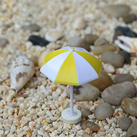 Casa y jardín Decorativos 2 PCS Miniatura Sun Umbrella DIY Home Garden Decoration Cute Umbrella Table Ornament Handicrafts, Tamaño: S (Azul) (Color : Amarillo): Amazon.es: Hogar